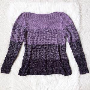 Croft & Barrow Purple Knit Striped Large Sweater